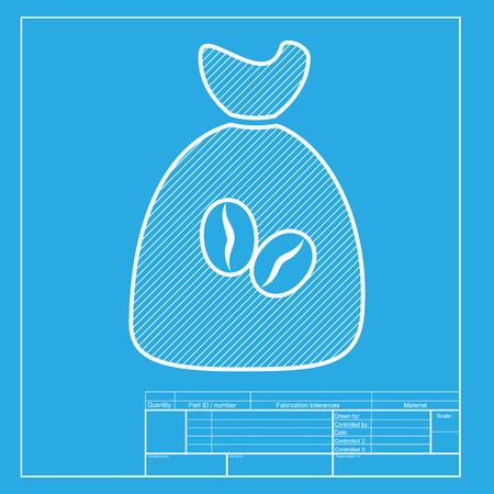 brewed: Coffee bag Icon. Coffee bag Vector. Coffee bag Icon Button. White section of icon on blueprint template. Illustration