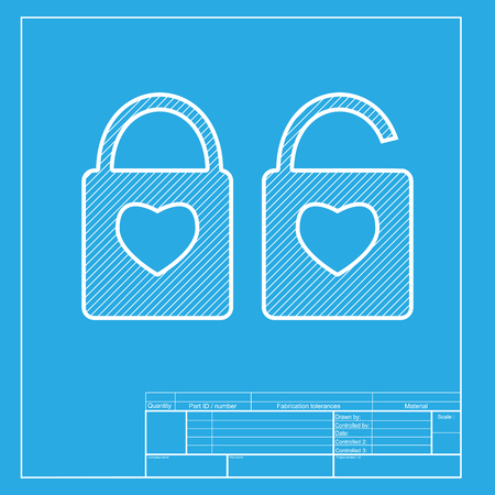 door lock love: lock sign with heart shape. A simple silhouette of the lock. Shape of a heart. White section of icon on blueprint template.