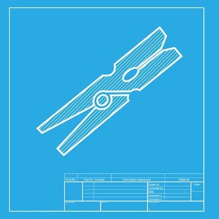 clothespeg: Clothes peg sign. White section of icon on blueprint template. Illustration