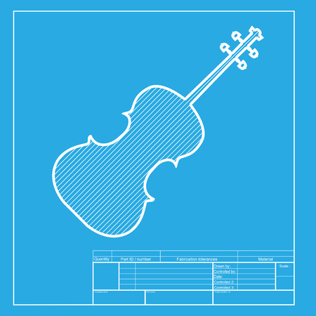 fiddle bow: Violine sign illustration. White section of icon on blueprint template. Illustration