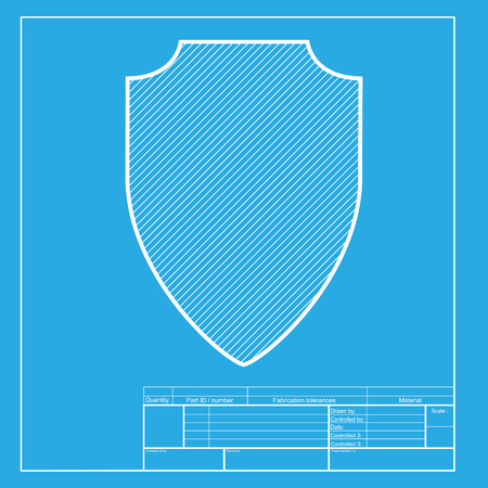 honour guard: Shield sign illustration. White section of icon on blueprint template.