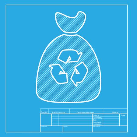 hazardous waste: Trash bag icon. White section of icon on blueprint template.