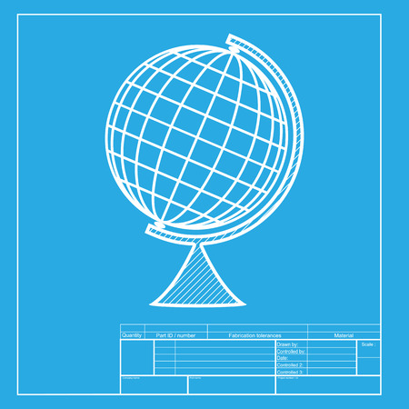 globe  the terrestrial ball: Earth Globe sign. White section of icon on blueprint template.
