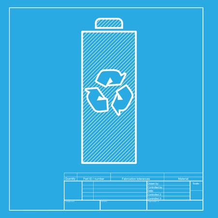 Batterie signe de recyclage illustration. section blanche de l'icône sur le modèle de plan.