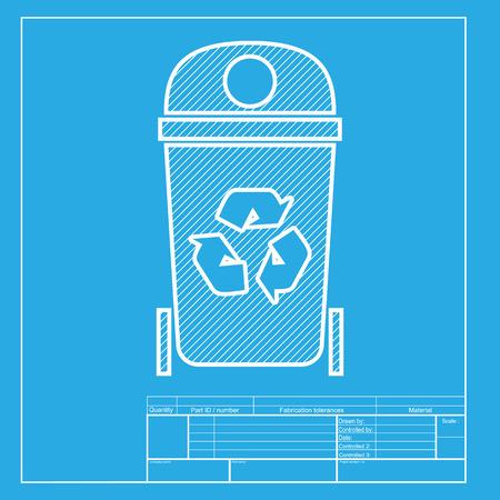 trashing: Trashcan sign illustration. White section of icon on blueprint template. Illustration