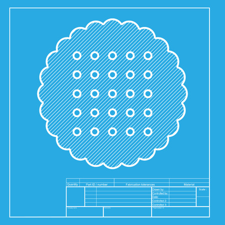 scone: Pyramid sign illustration. White section of icon on blueprint template. Illustration