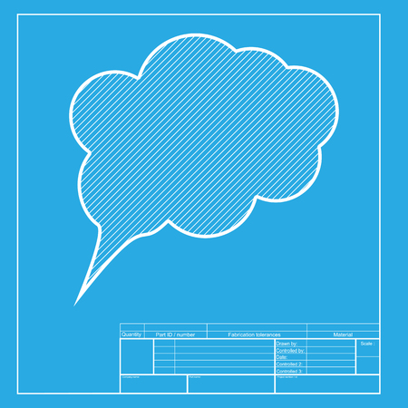 speach: Speach bubble sign illustration. White section of icon on blueprint template.