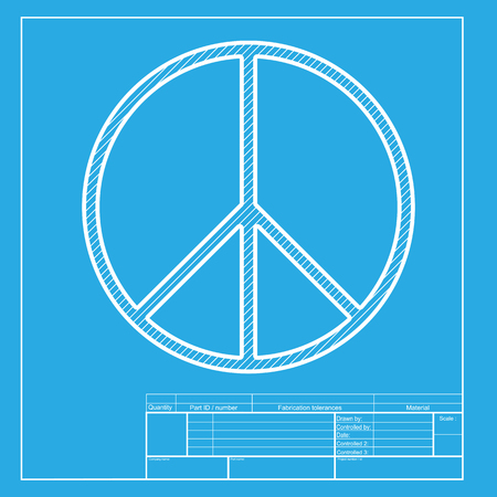 pacificist: Peace sign illustration. White section of icon on blueprint template.