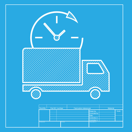 removal van: Delivery sign illustration. White section of icon on blueprint template.