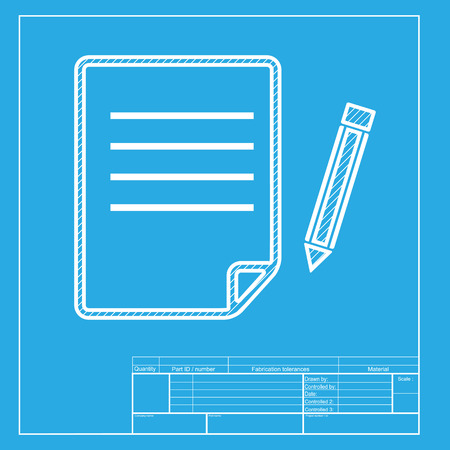 Paper and pencil sign white section of icon on blueprint template paper and pencil sign white section of icon on blueprint template stock vector malvernweather Choice Image