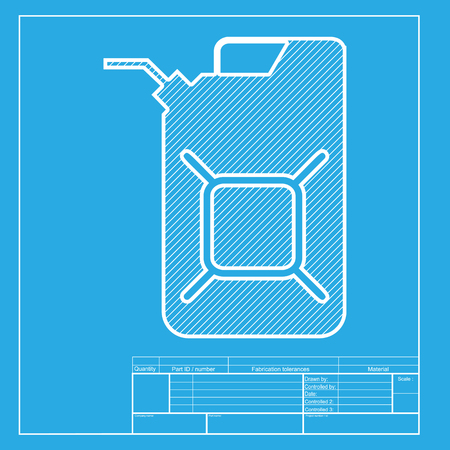 jerry: Jerrycan oil sign. Jerry can oil sign. White section of icon on blueprint template.