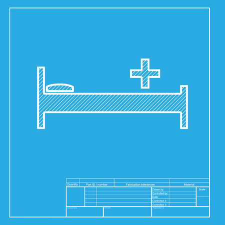 Hospital sign illustration. White section of icon on blueprint template.