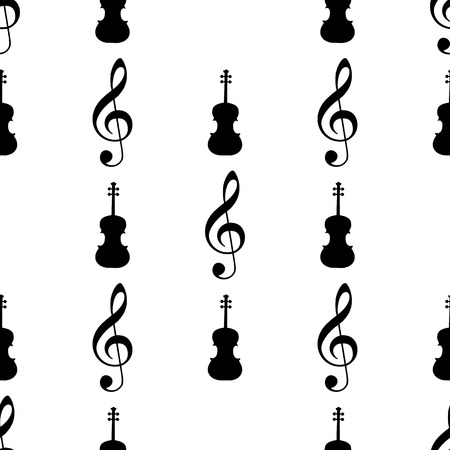 fiddles: Seamless pattern with musical signs. Vector illustration