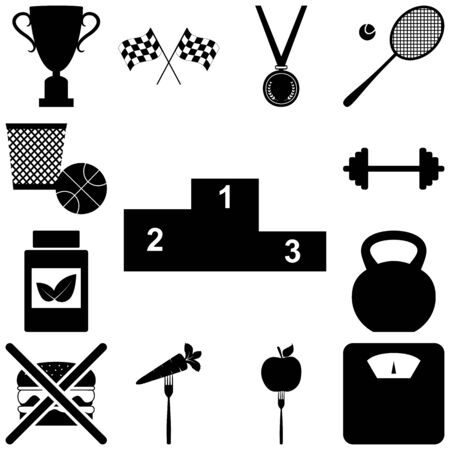 healty: Sport and healty signs set. Vector illustration