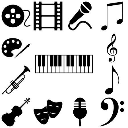 Music art signs set. Vector icon illustration Stock Illustratie
