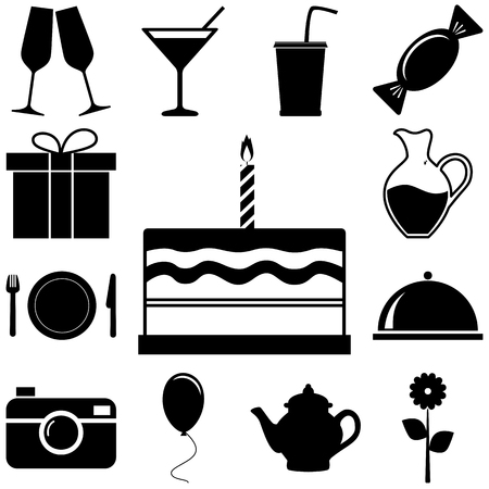holiday party: Holiday and party signs set. Vector illustration