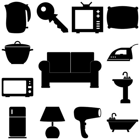 pieces of furniture: Home pieces signs set. Flat style Vector illustration Illustration