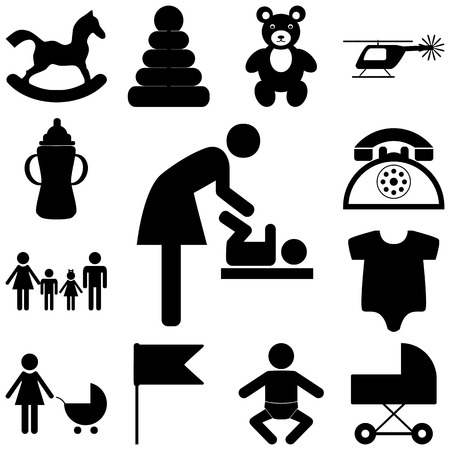 child care: Child care modern vector icons set. Flat illustration