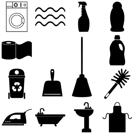 dusting: Cleaning service icons set. Flat style Vector illustration