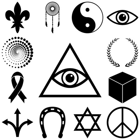 Religion, esoteric and mystery icons set. Vector illustration Illustration