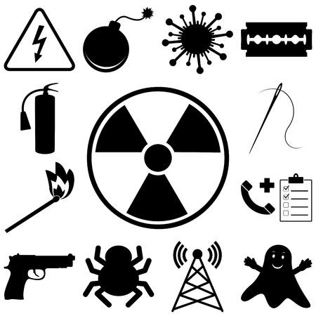 dangerous: Dangerous and icons set. Flat style vector illustration