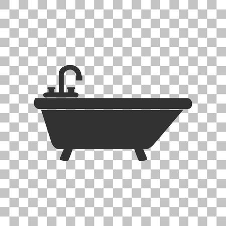 bathtub: Bathtub sign illustration. Dark gray icon on transparent background.