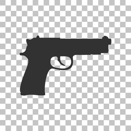 luger: Gun sign illustration. Dark gray icon on transparent background.