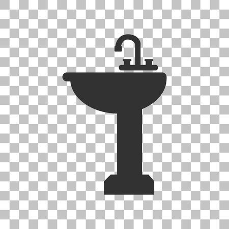 necessity: Bathroom sink sign. Dark gray icon on transparent background.