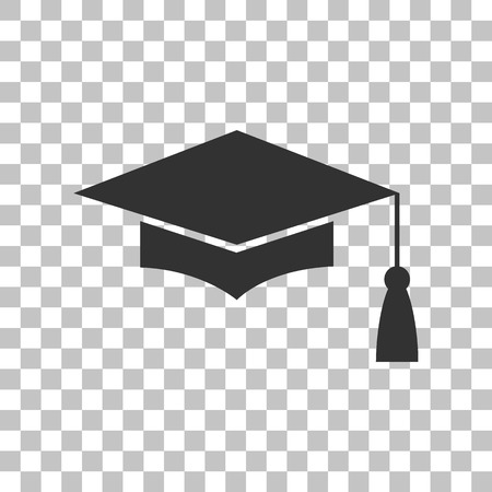 Mortar Board or Graduation Cap, Education symbol. Dark gray icon on transparent background.