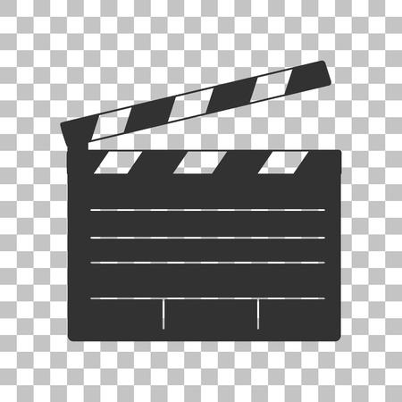 Film clap board cinema sign. Dark gray icon on transparent background.