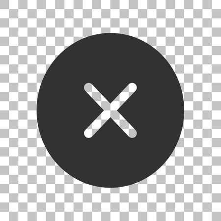 voted: Cross sign illustration. Dark gray icon on transparent background.