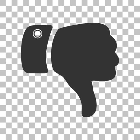disapprove: Hand sign illustration. Dark gray icon on transparent background.