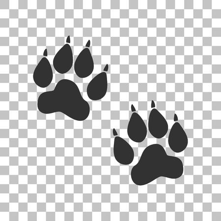 animal tracks: Animal Tracks sign. Dark gray icon on transparent background.