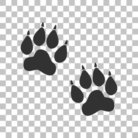 animal tracks: Pistas animales firman. Oscuro icono gris en el fondo transparente.