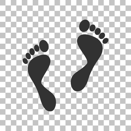foot prints: Foot prints sign. Dark gray icon on transparent background.