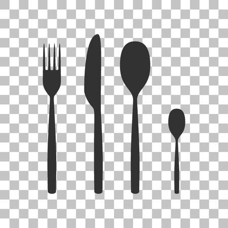 Fork spoon and knife sign. Dark gray icon on transparent background.