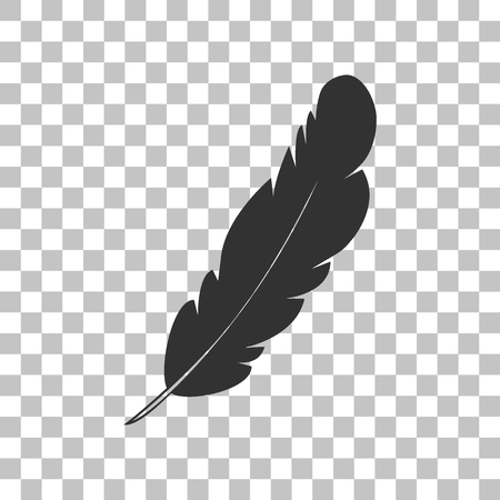 Feather sign illustration. Dark gray icon on transparent background. Illustration