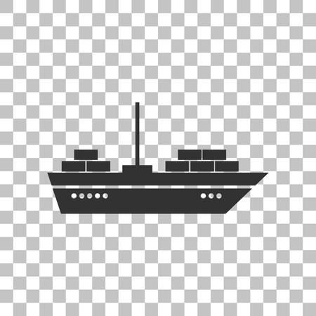 inflate boat: Ship sign illustration. Dark gray icon on transparent background.