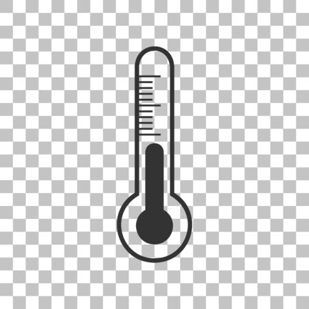 Meteo diagnostic technology thermometer sign. Dark gray icon on transparent background.