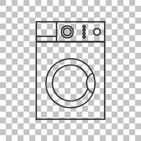 major household appliance: Washing machine sign. Dark gray icon on transparent background.