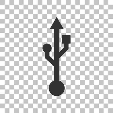 USB sign illustration. Dark gray icon on transparent background.