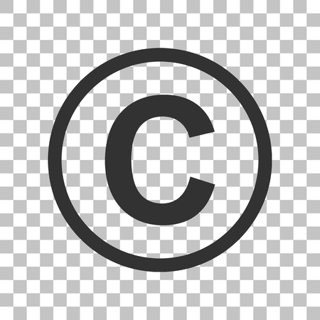 Copyright teken illustratie. Donkergrijs pictogram op transparante achtergrond.