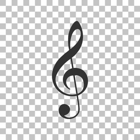 Music violin clef sign. G-clef. Treble clef. Dark gray icon on transparent background.