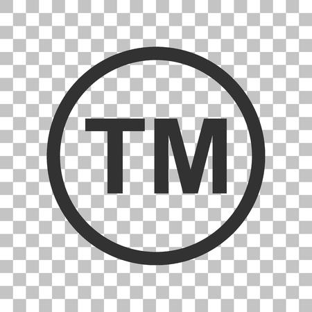 Trade mark sign. Dark gray icon on transparent background. Stock Illustratie