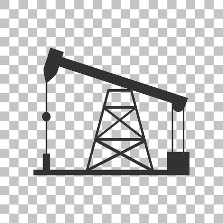 drilling rig: Oil drilling rig sign. Dark gray icon on transparent background.