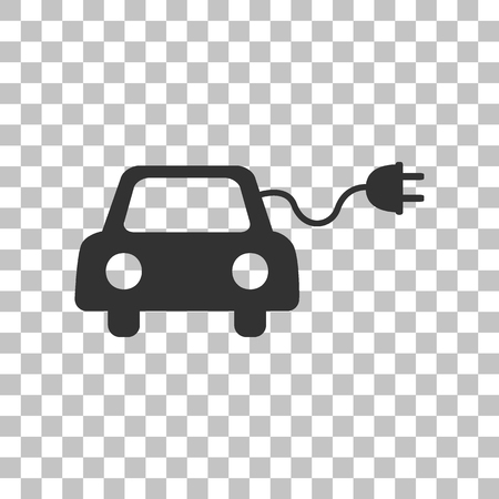 echnology: Eco electric car sign. Dark gray icon on transparent background.