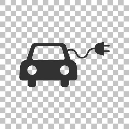 Muestra de Eco coche eléctrico. Oscuro icono gris en el fondo transparente.