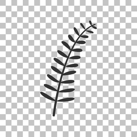 dark olive: Olive twig sign. Dark gray icon on transparent background. Illustration