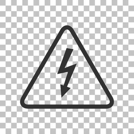voltage danger: High voltage danger sign. Dark gray icon on transparent background. Illustration