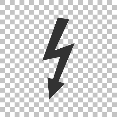 voltage gray: High voltage danger sign. Dark gray icon on transparent background. Illustration